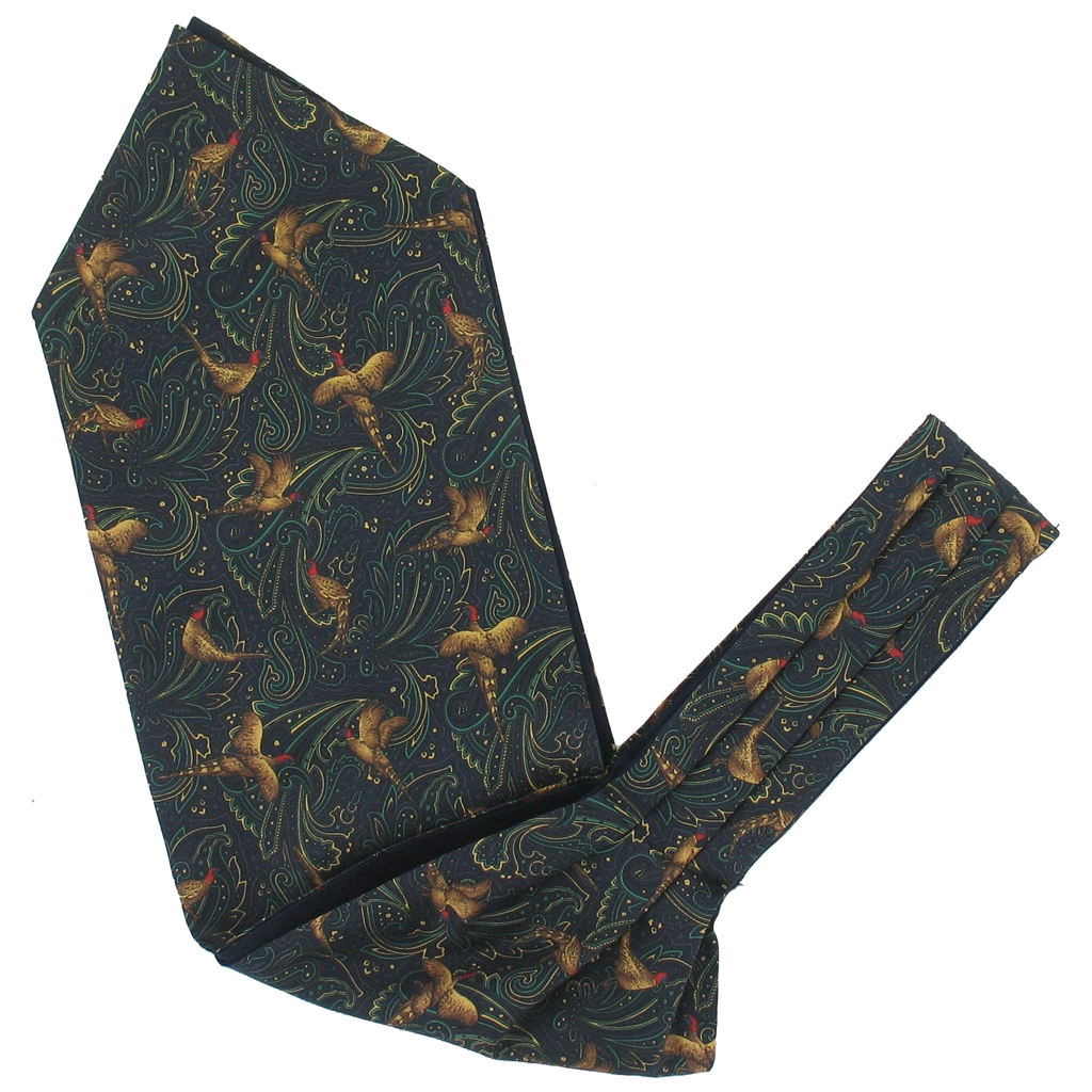 Men's Silk Cravat - Navy Pheasant Design