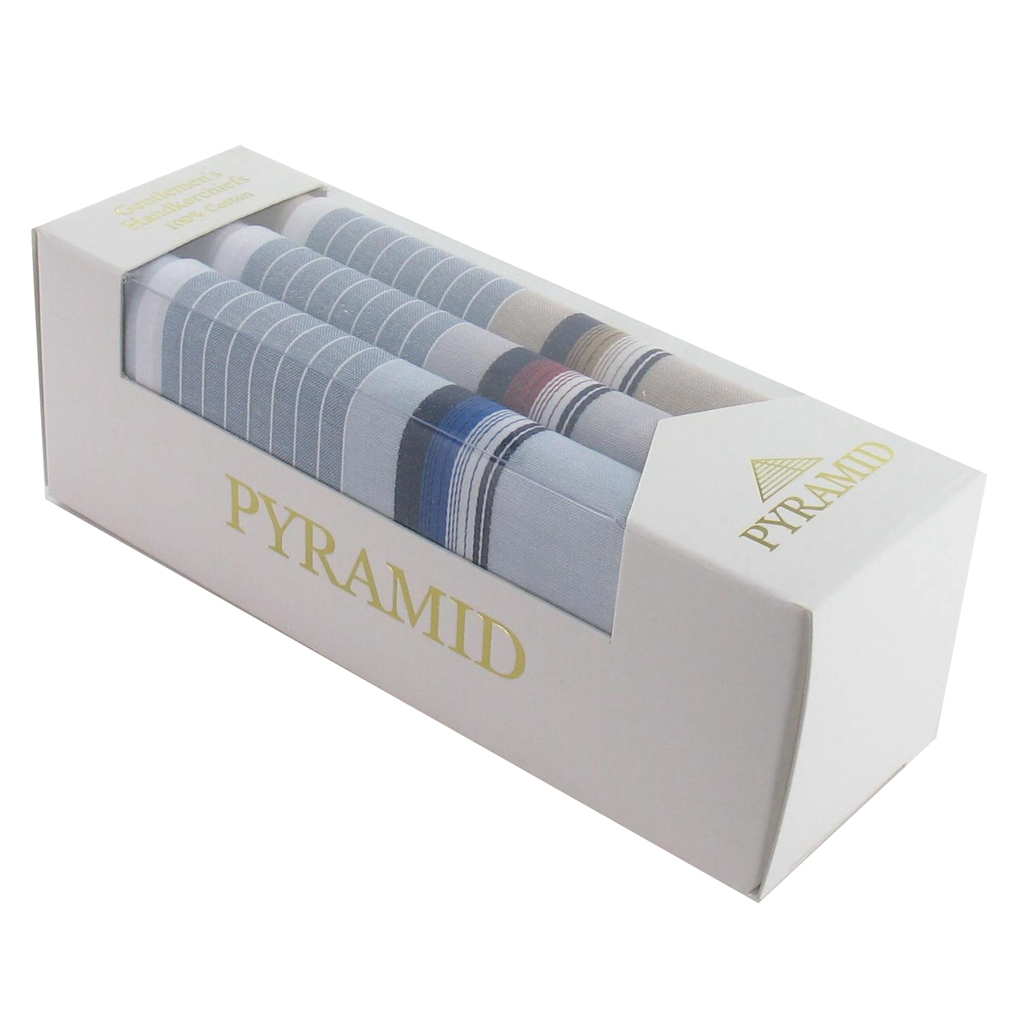 Pyramid Handkerchiefs Men's Gift Box Of Coloured Multi Stripes