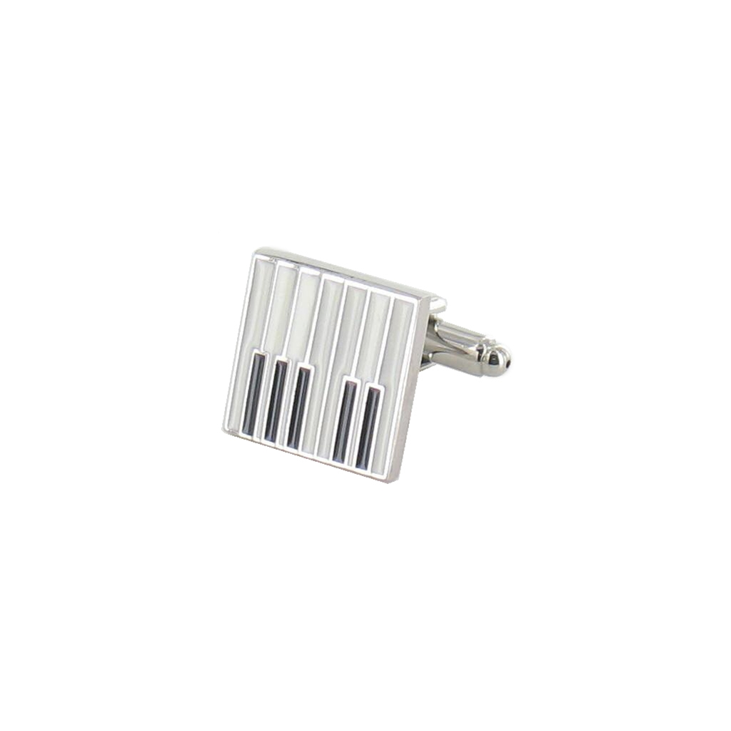 Piano Key Cufflinks - Piano Design Cuff Links in Black Luxury Antique Style Leatherette Gift Box