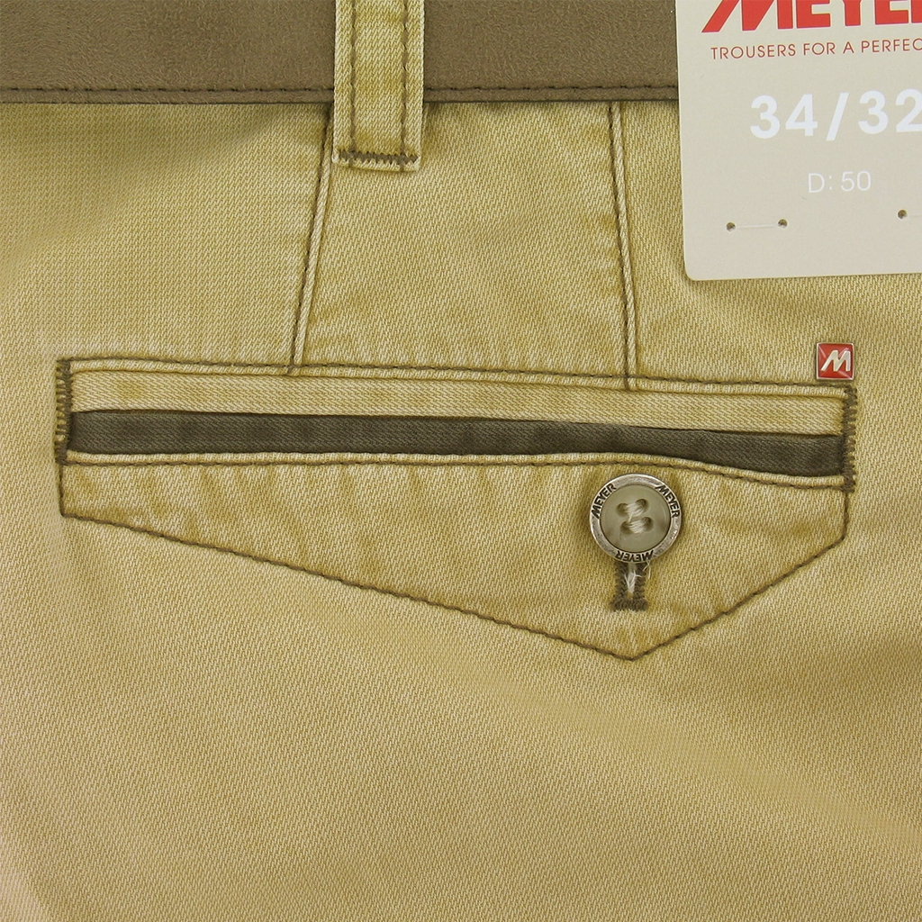 Meyer Shorts - Fine Textured Cotton - Sand with brown trim - 36'' Only