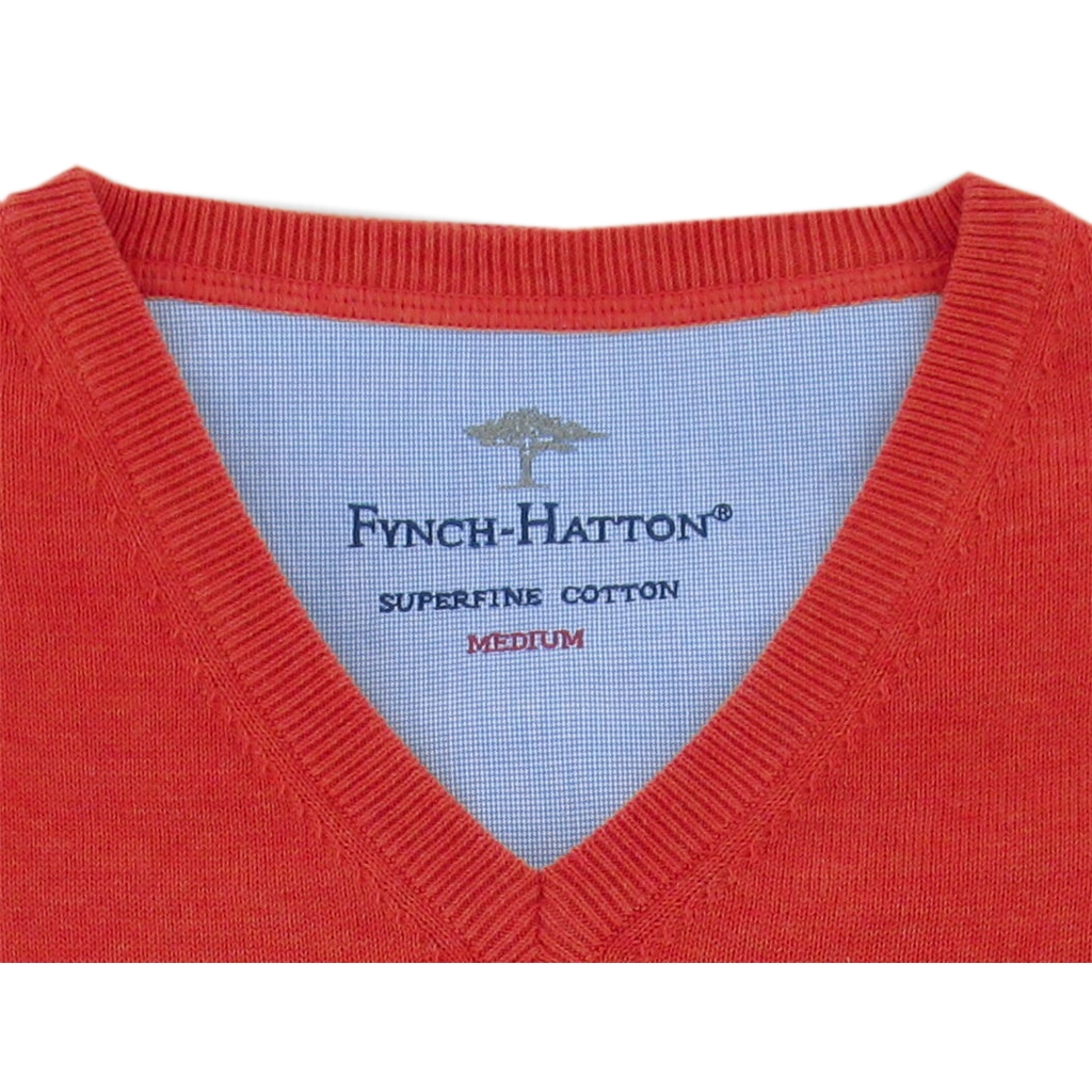 Fynch-Hatton Superfine Cotton V-Neck - Tomato - Size L