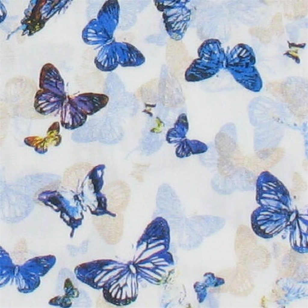 Giordano White Blue Butterflies - Size 3XL Only