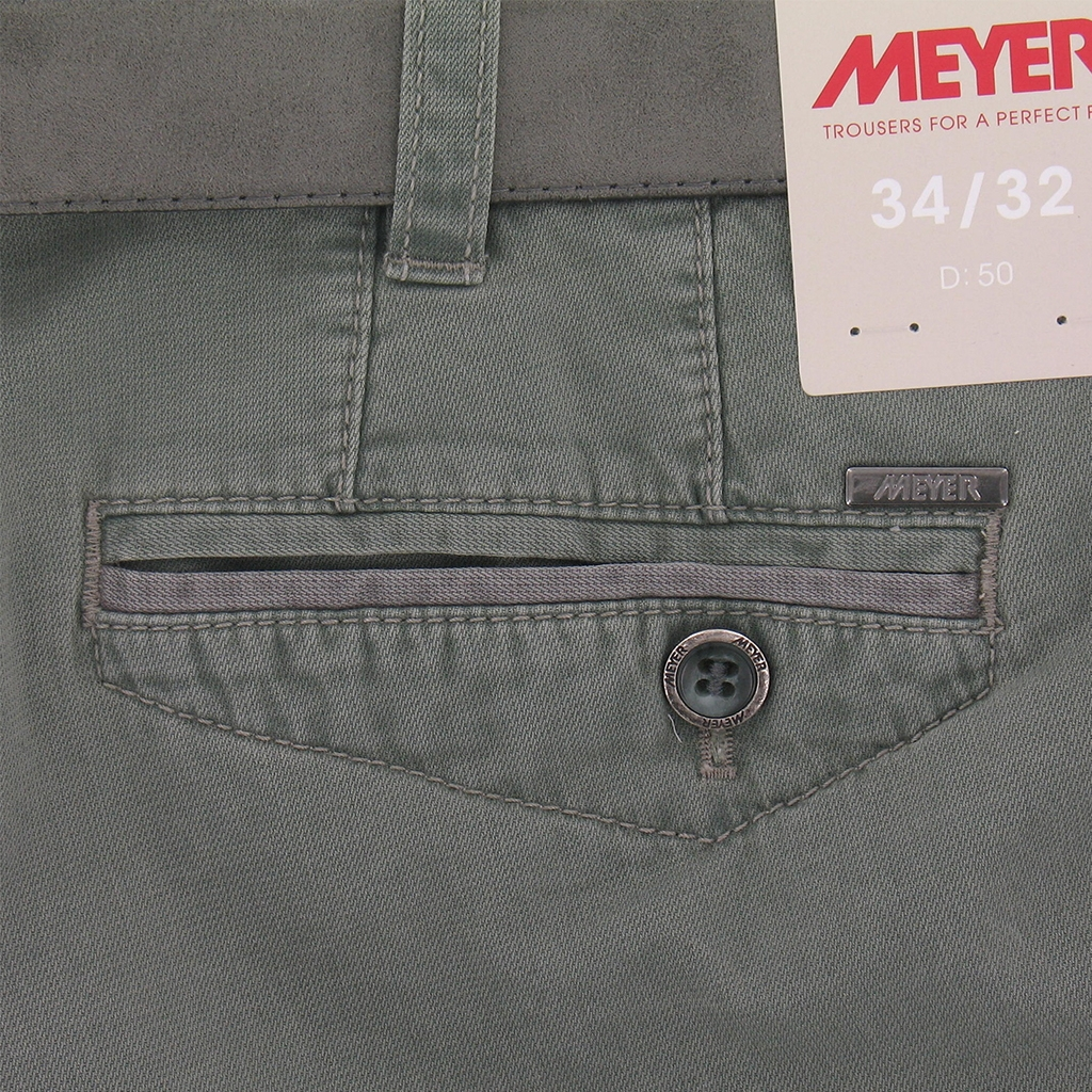 New 2016 Meyer Shorts - Fine Textured Cotton - Green with Grey Trim