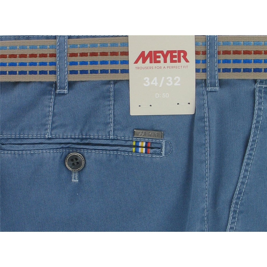 New May 2016 Meyer Textured Cotton Trouser - Mid Blue - Limited Edition