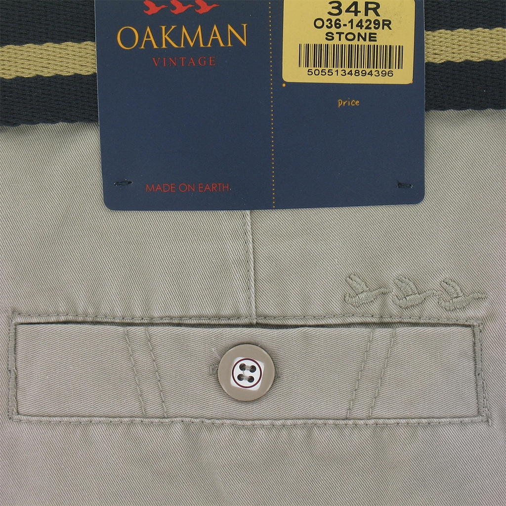 Oakman Cotton Chino Trouser - Stone