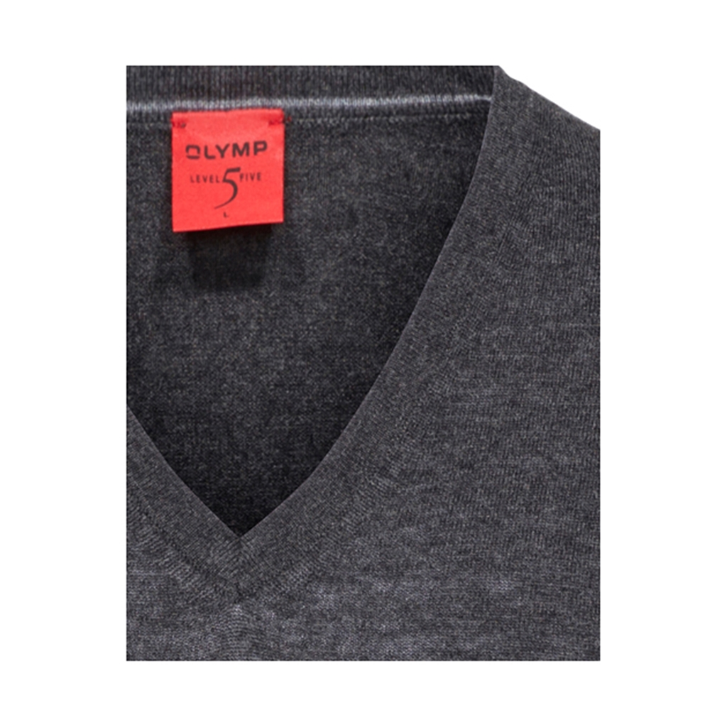 Olymp - Level Five Merino Wool V-Neck Sweater - Anthracite