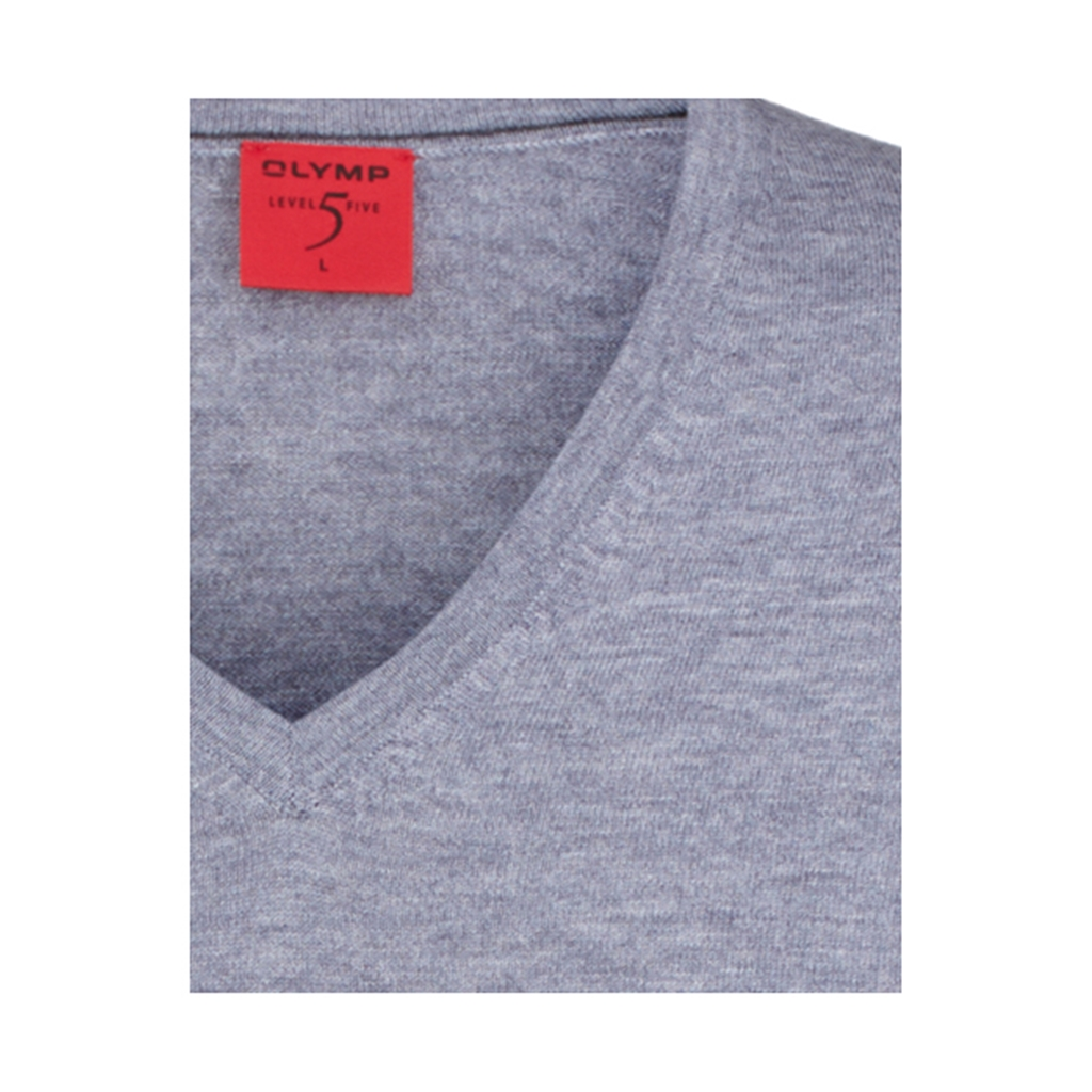 Olymp - Level Five Merino Wool V-Neck Sweater - Silver Grey