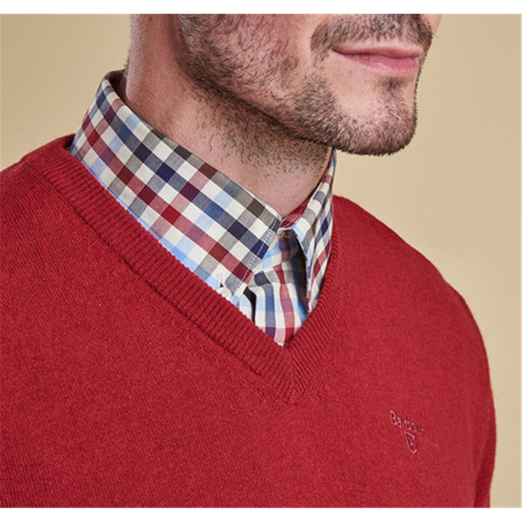 Barbour Essential Lambswool V Neck Jumper - Rich Red - Size M Only