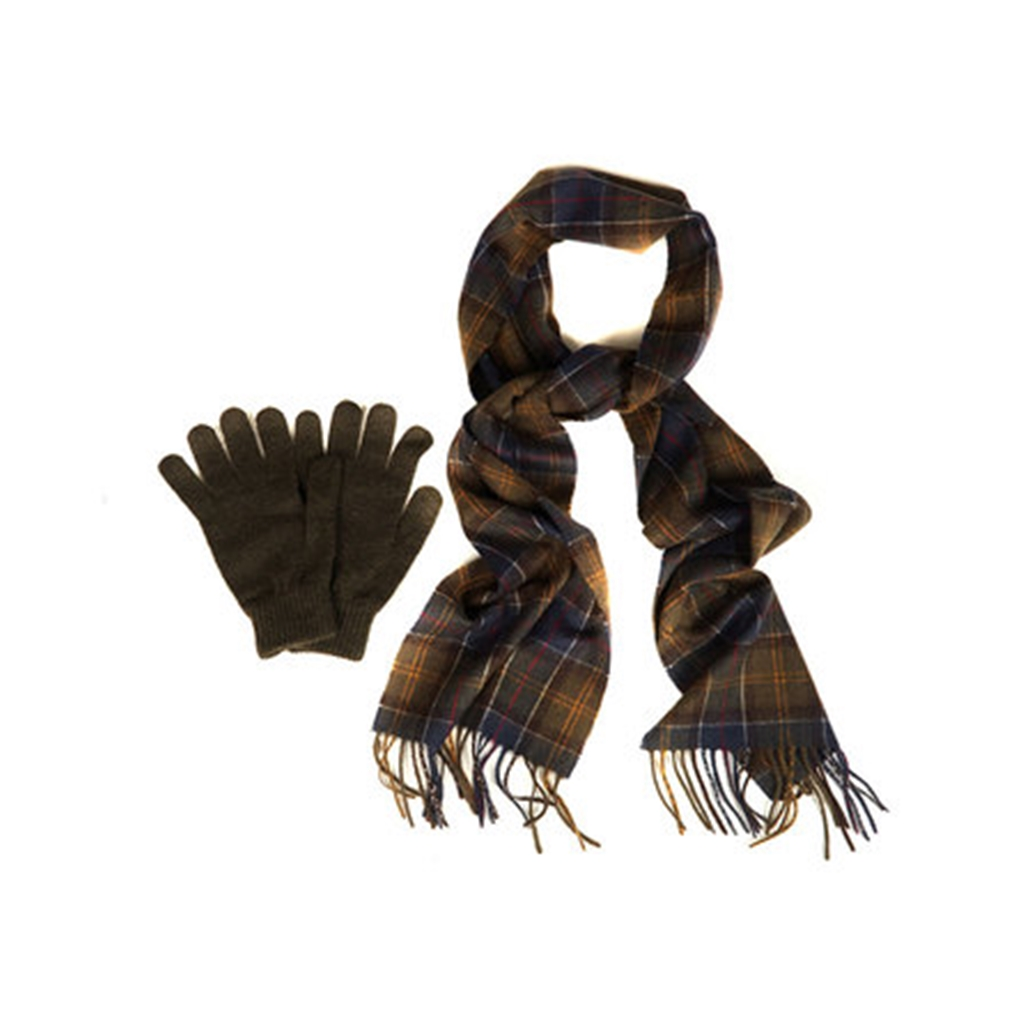 New Autumn 2016 Barbour Lifestyle Scarf & Glove Gift Box - Classic Olive