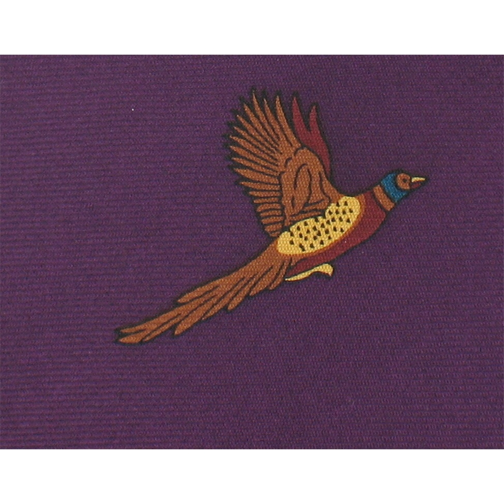 The Silk Tie Company - Plum Purple Tie with Pheasant Design - 100% Silk