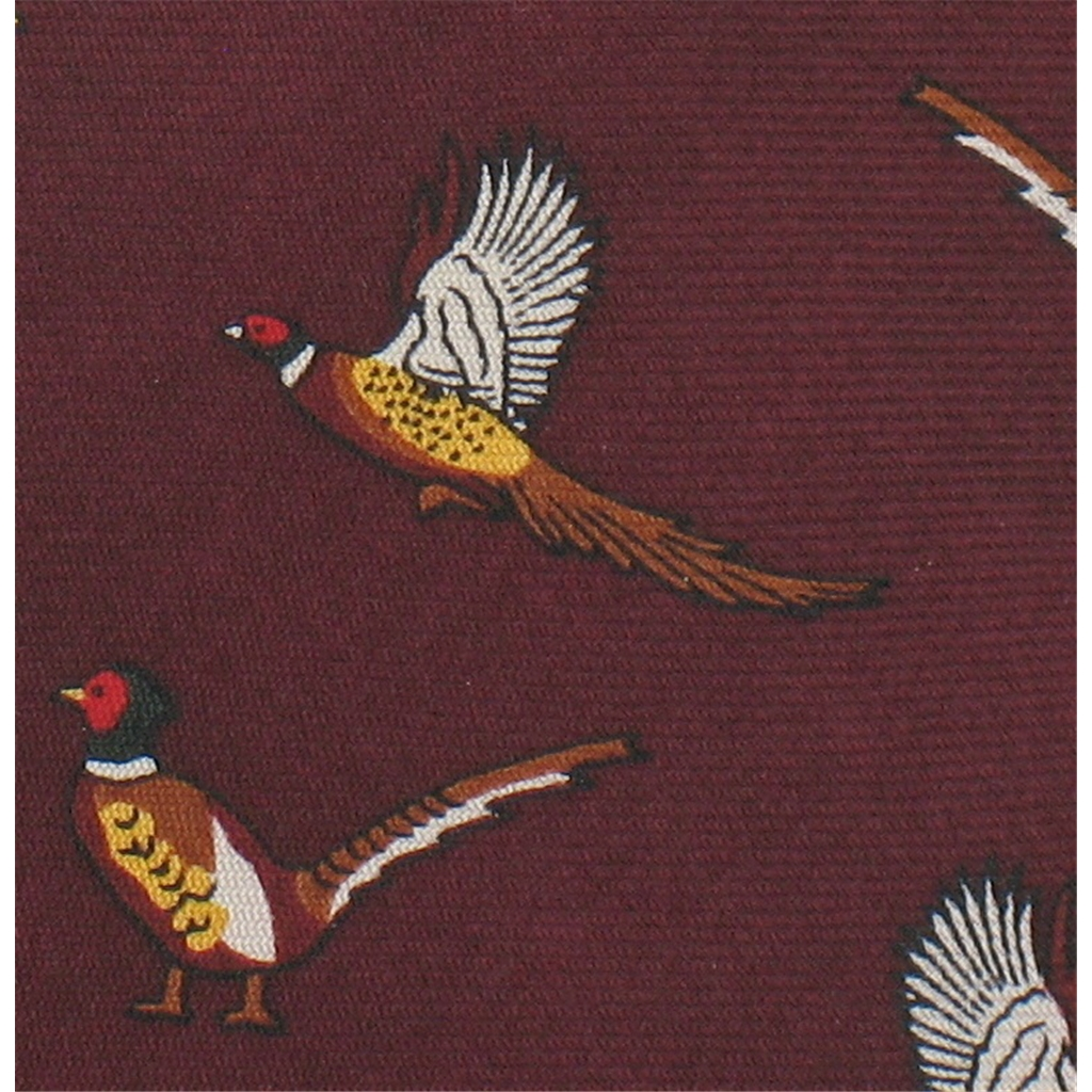 The Silk Tie Company - Wine Tie with Pheasant Design - 100% Silk