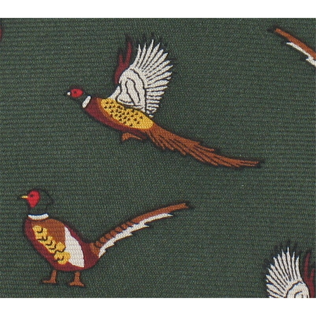 The Silk Tie Company - Green Tie with Pheasant Design - 100% Silk
