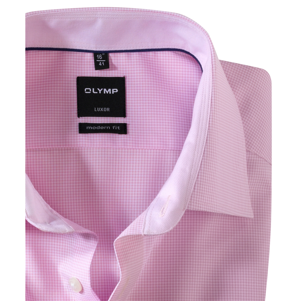 Olymp Modern Fit Shirt - Pink and White Check