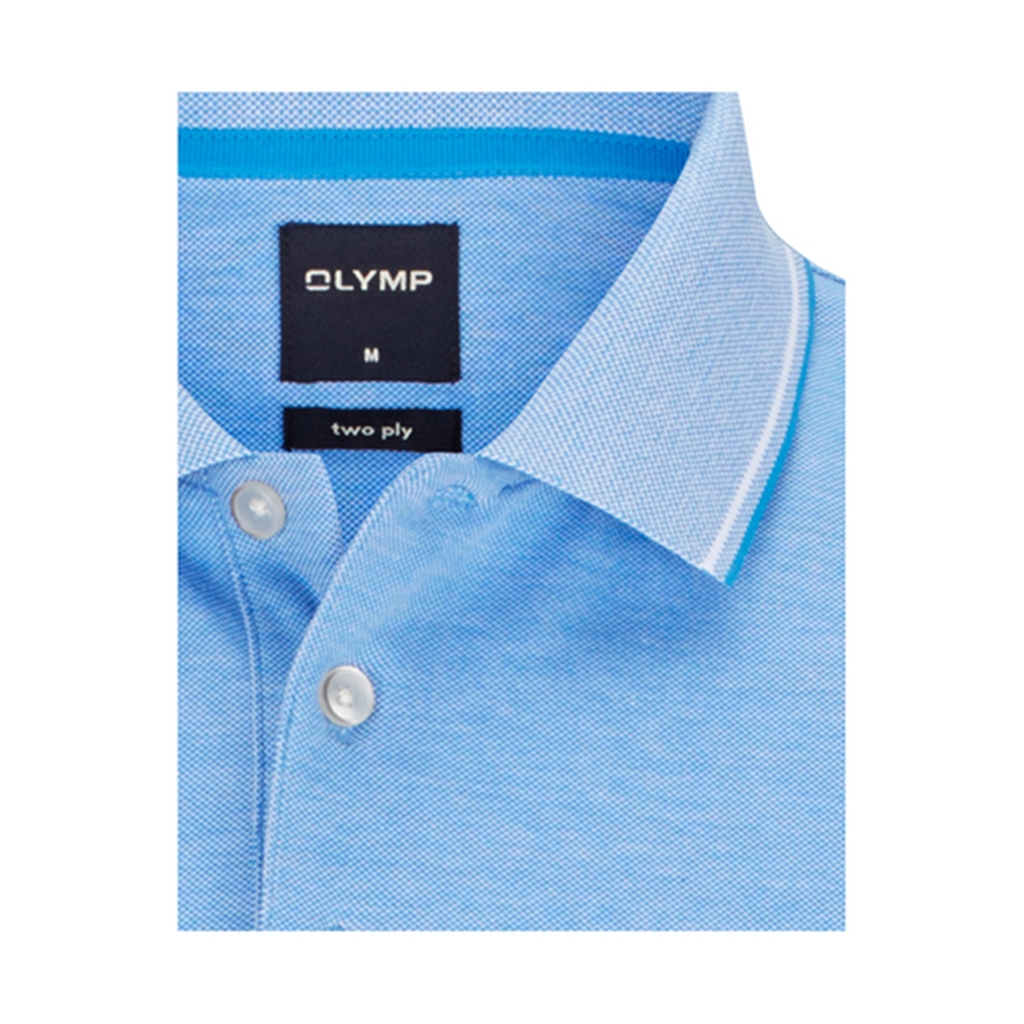 Olymp Polo - Modern Fit -  Textured Blue