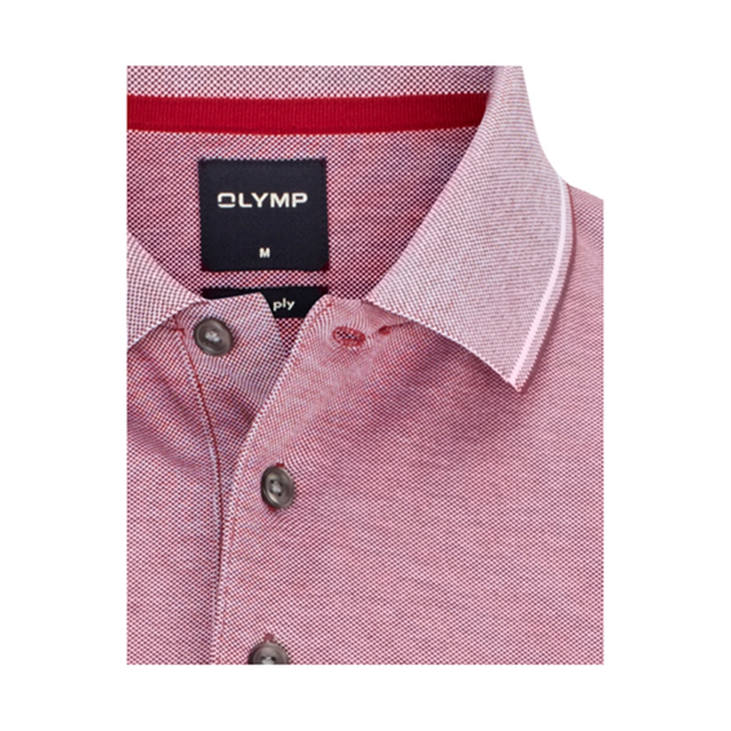 Olymp Polo - Modern Fit - Textured Dark Red