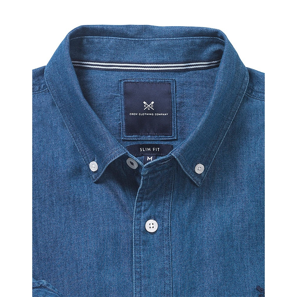 New 2017 Mens Crew Clothing Slim Fit Shirt - Indigo