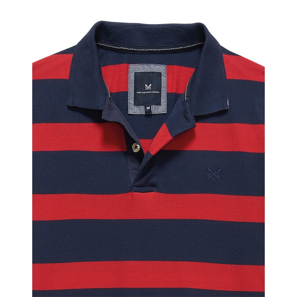 New 2017 Mens Crew Clothing Oxford Classic fit Polo - Crimson/Navy Stripe - Size 3XL