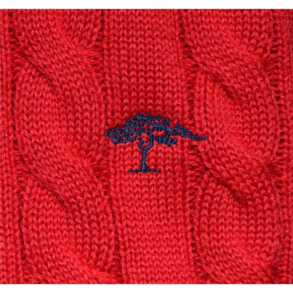 New 2017 Fynch-Hatton Cotton Half Zip Cable Sweater - Scarlet