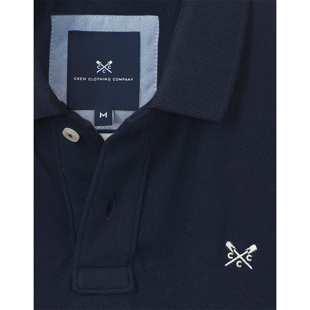 New 2017 Mens Crew Clothing Classic Pique Polo - Navy - Size L