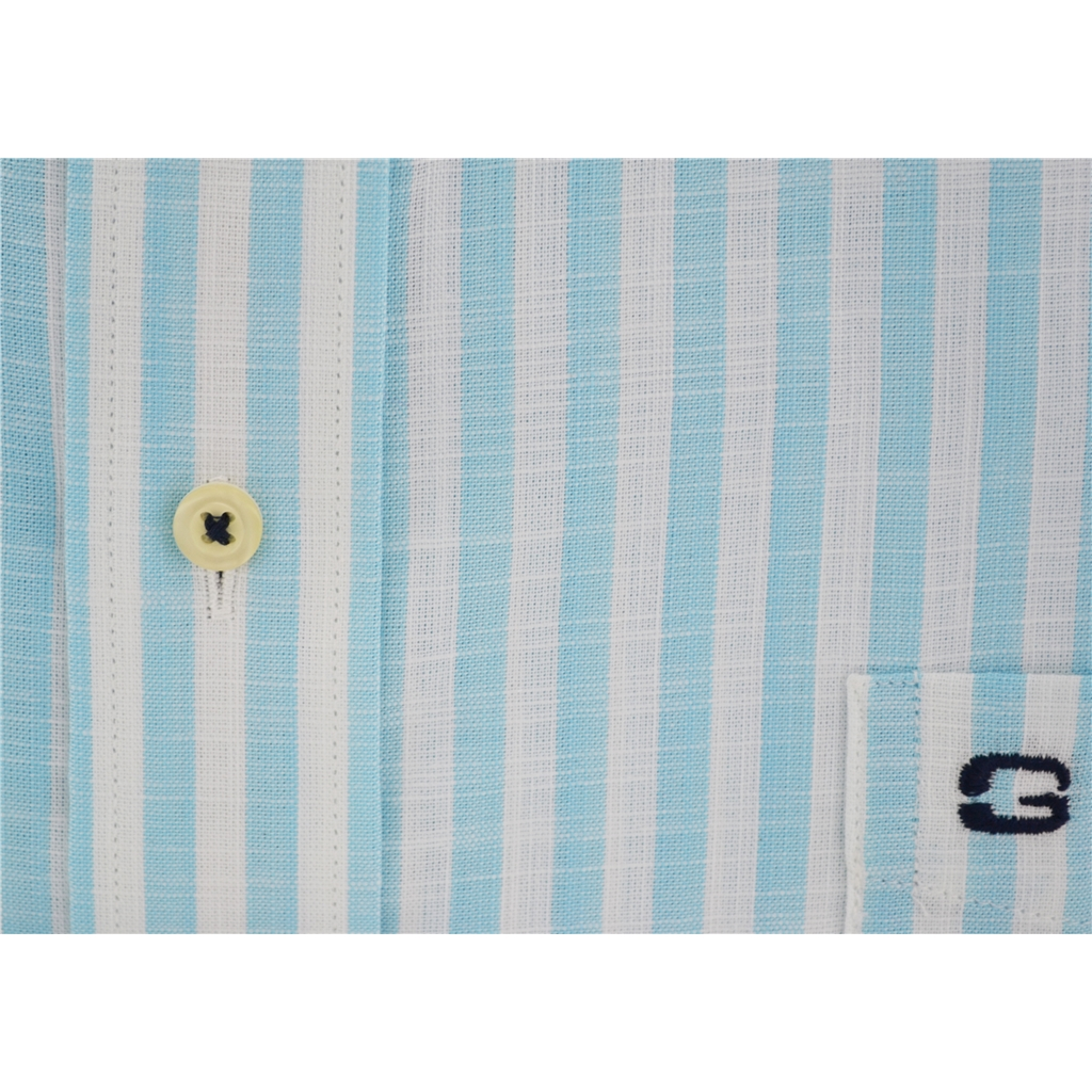 Half Sleeved Giordano Shirt - Block Stripe Turquoise - Size Medium and 3XL  Only