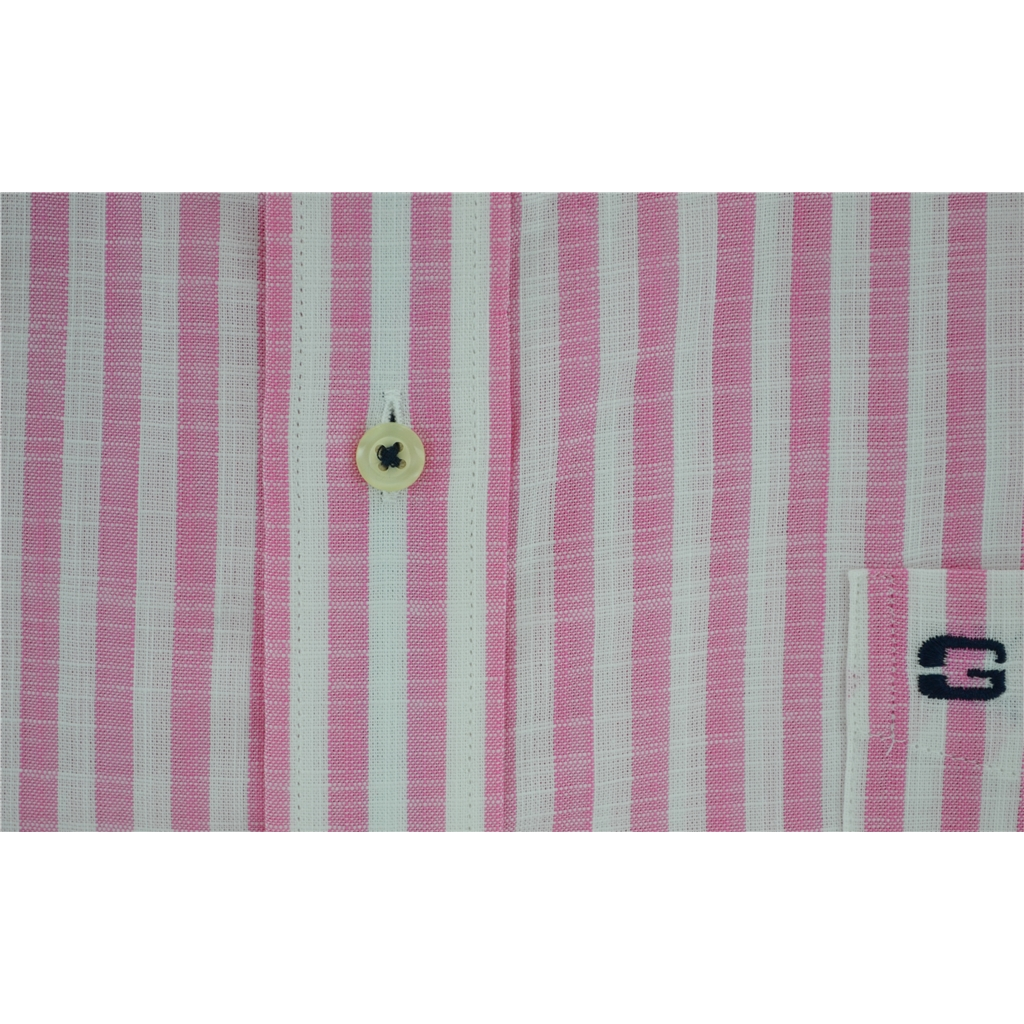 New 2017 Half Sleeved Giordano Shirt - Block Stripe Pink  - Size M Only