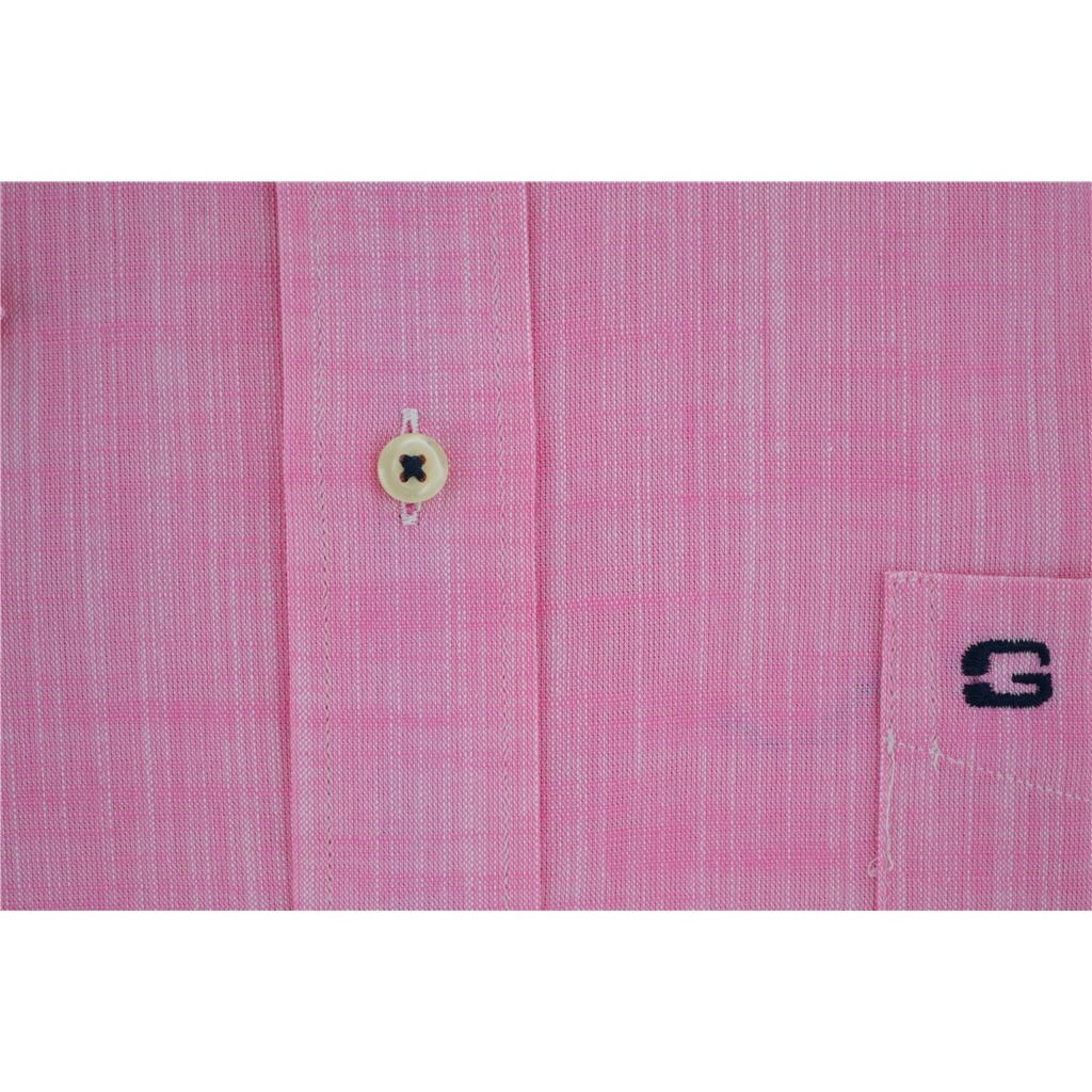 Half Sleeved Giordano Shirt - Straw Weave Pink - Medium Only