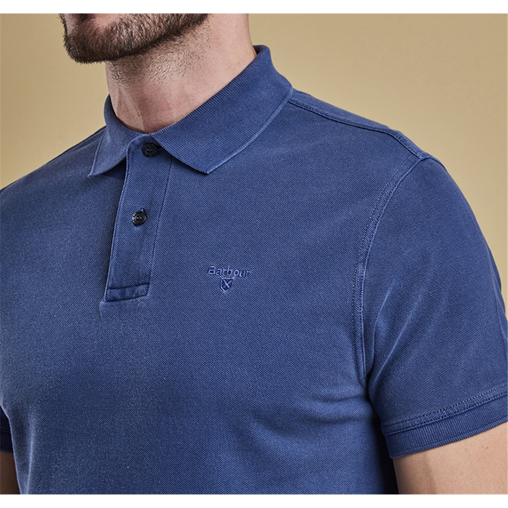 New 2017 Barbour Core Essential Mens Washed Sports Polo Shirt - Marine - Size L ONLY
