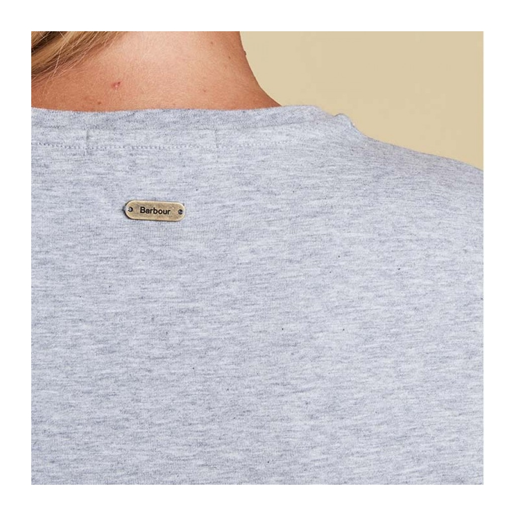 New 2017 Barbour Ladies Laurel T-Shirt - Light Grey Marl