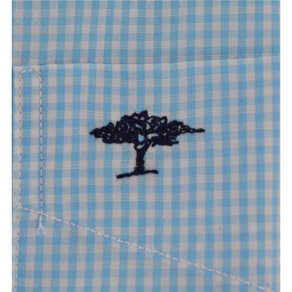 Fynch-Hatton Cotton Short Sleeve Shirt - Graph Check Turquoise
