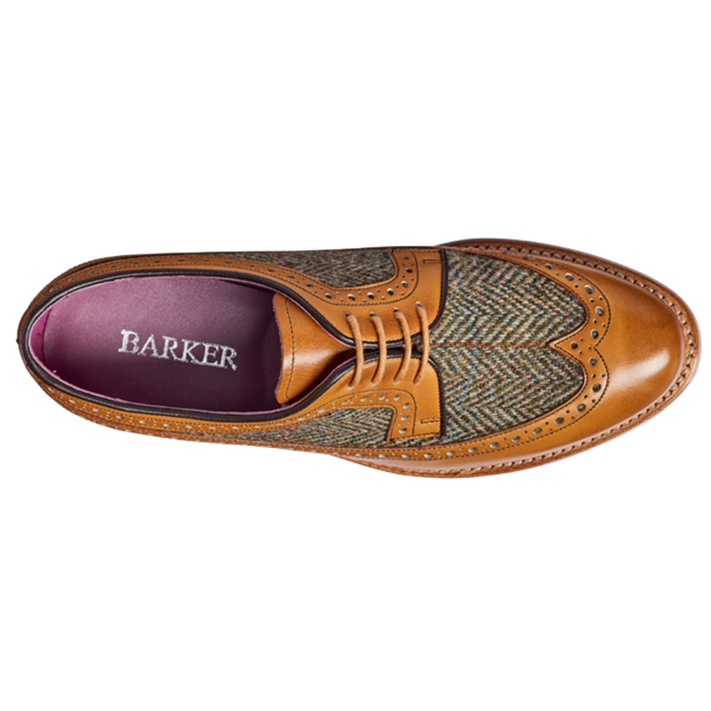 New 2018 Barker Ladies Shoes Style: Abbey - Cedar Calf/Green Harris Tweed