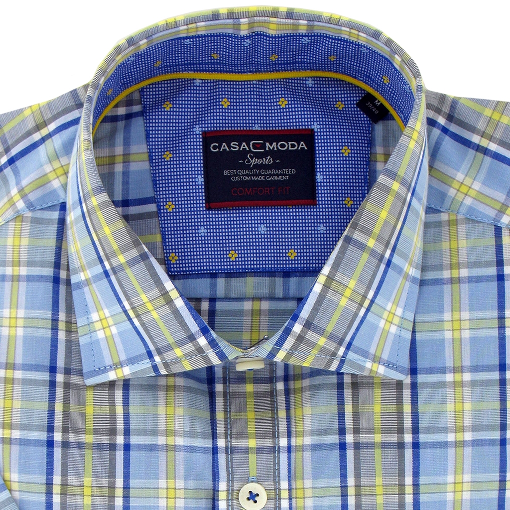 New 2017 Casa Moda Half Sleeve Blue Yellow Check