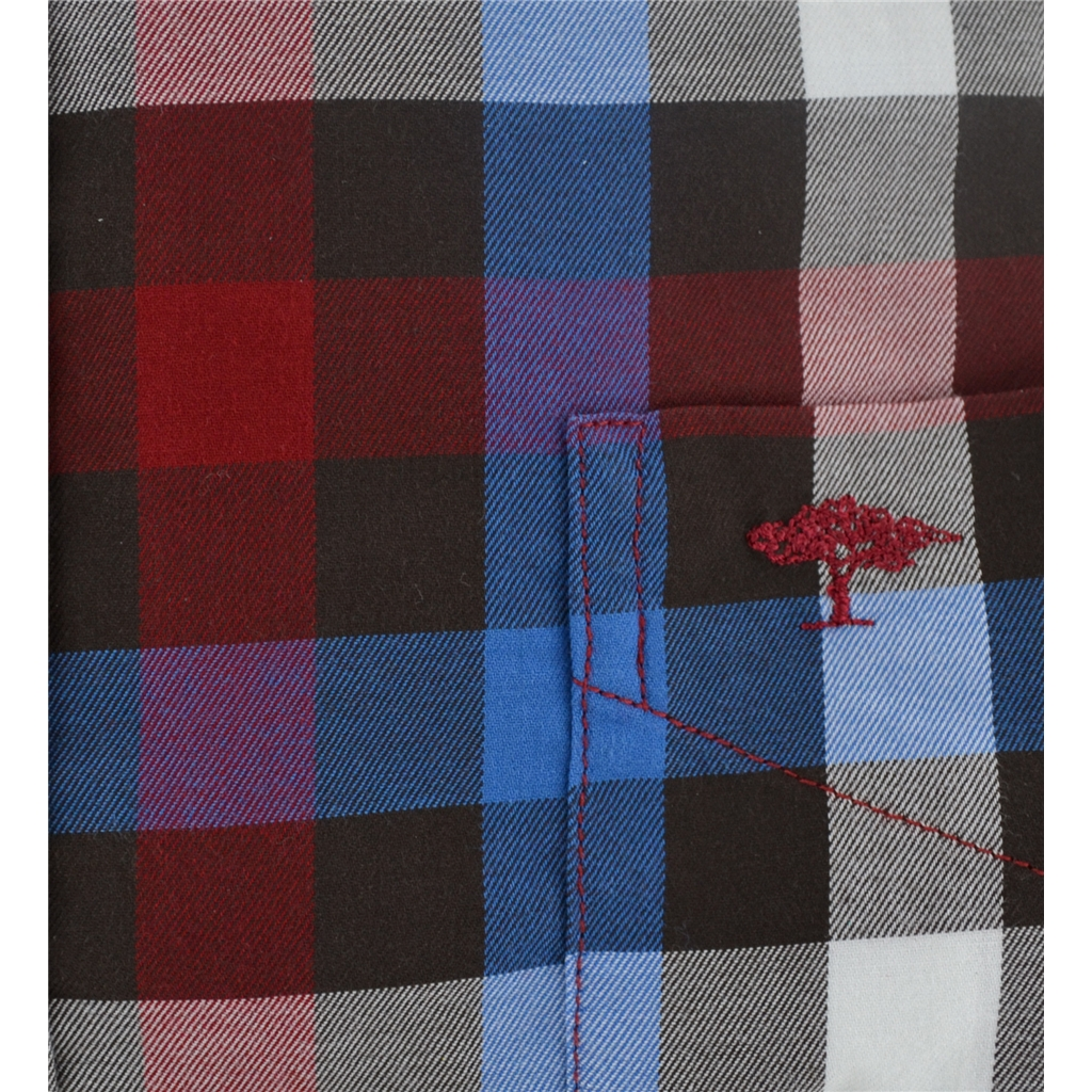 Autumn 2017 Fynch-Hatton Shirt - Mocha Crimson Hightwist Cotton Check