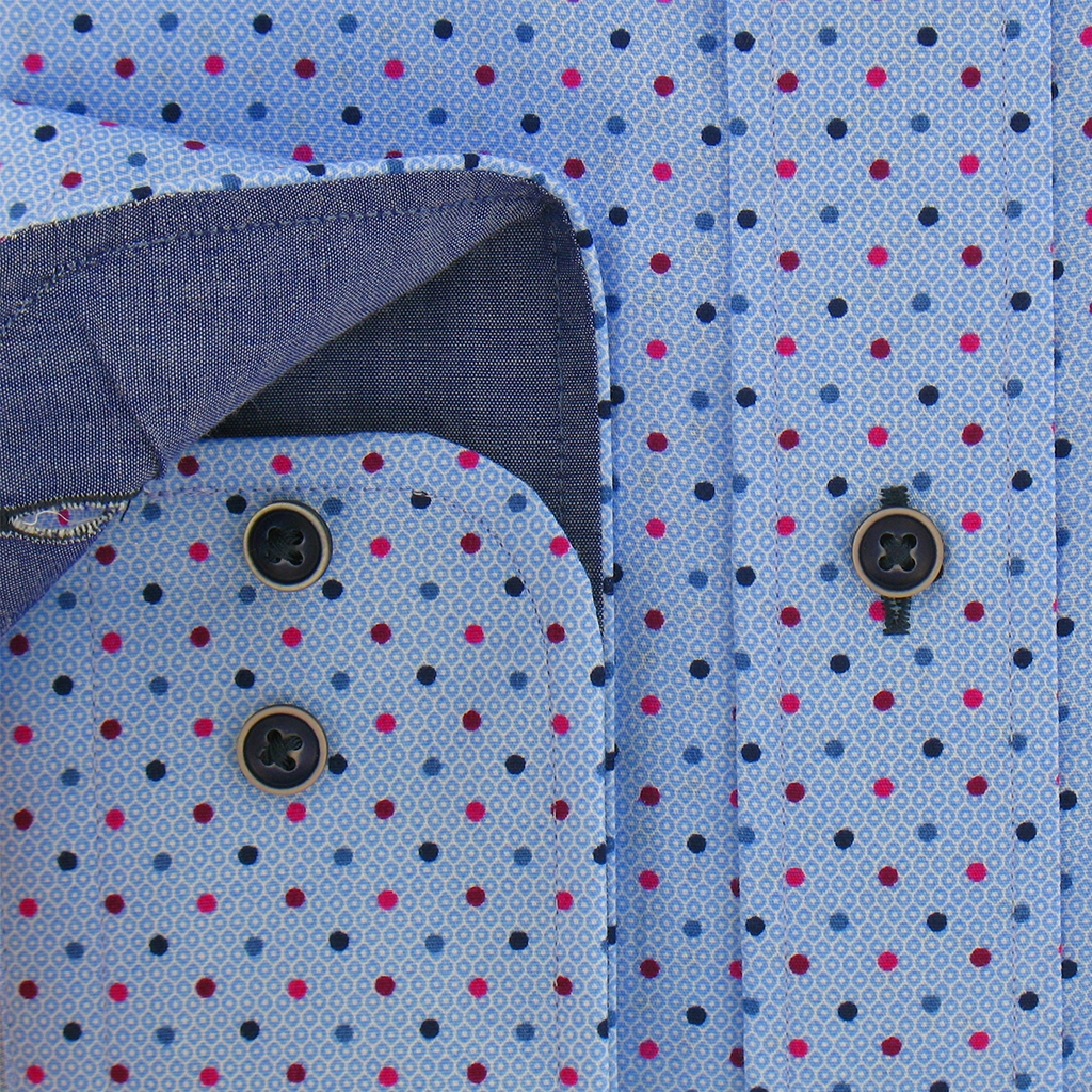 Autumn 2017 Giordano Shirt - Sky Blue With Spots- Regular Fit