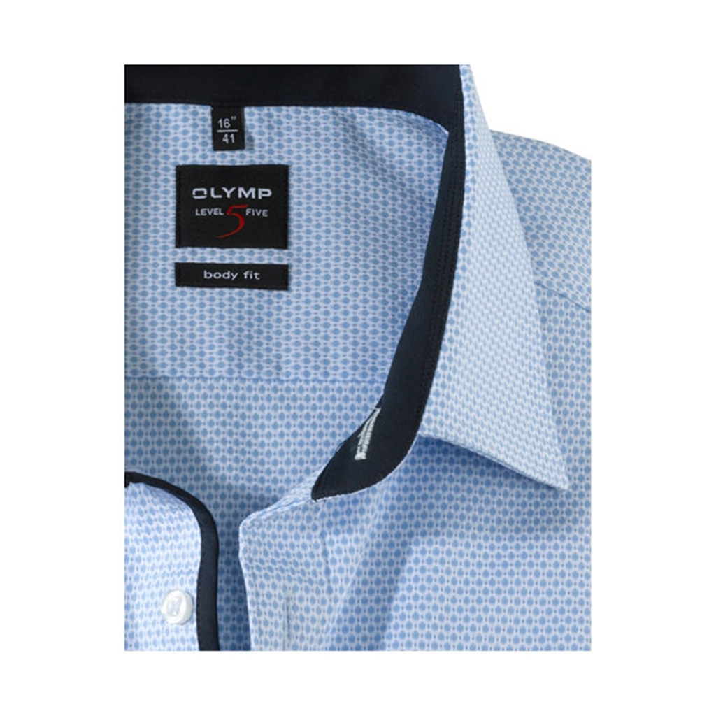 Olymp Level Five Body Fit Shirt with Woven Spot Pattern - Sky Blue - 0470 64 11
