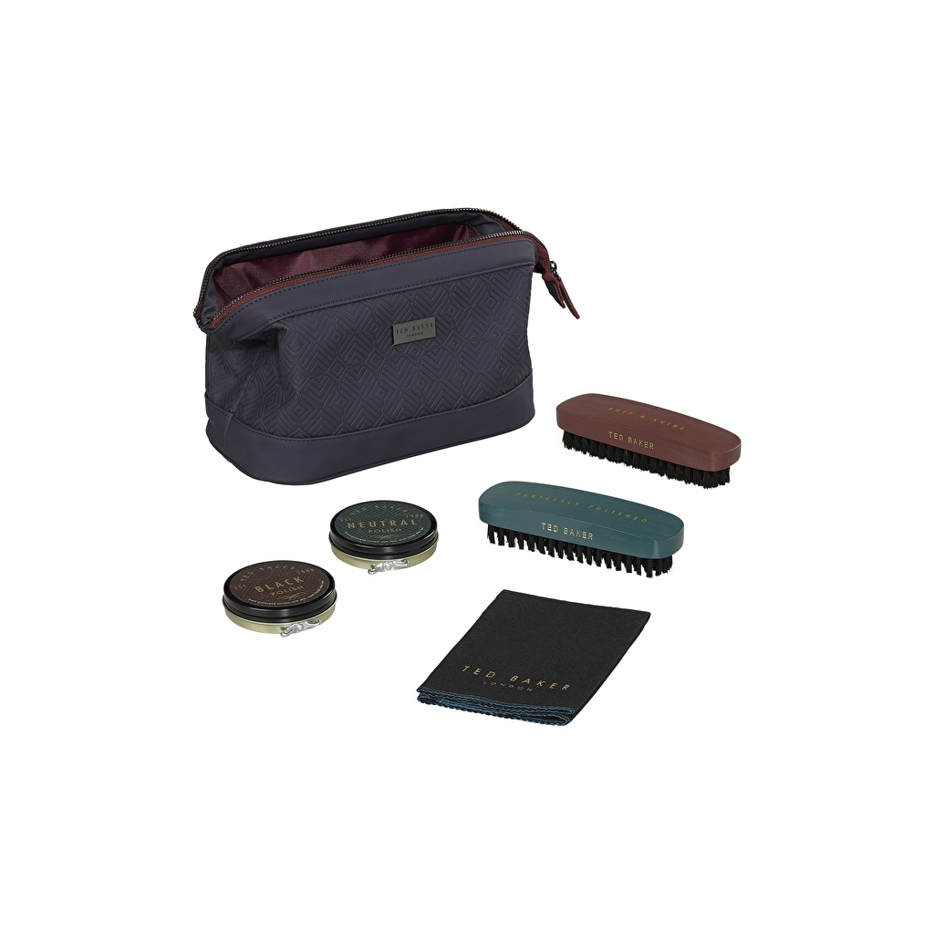 Ted Baker Cadet Blue Geometric Shoe Shine Kit
