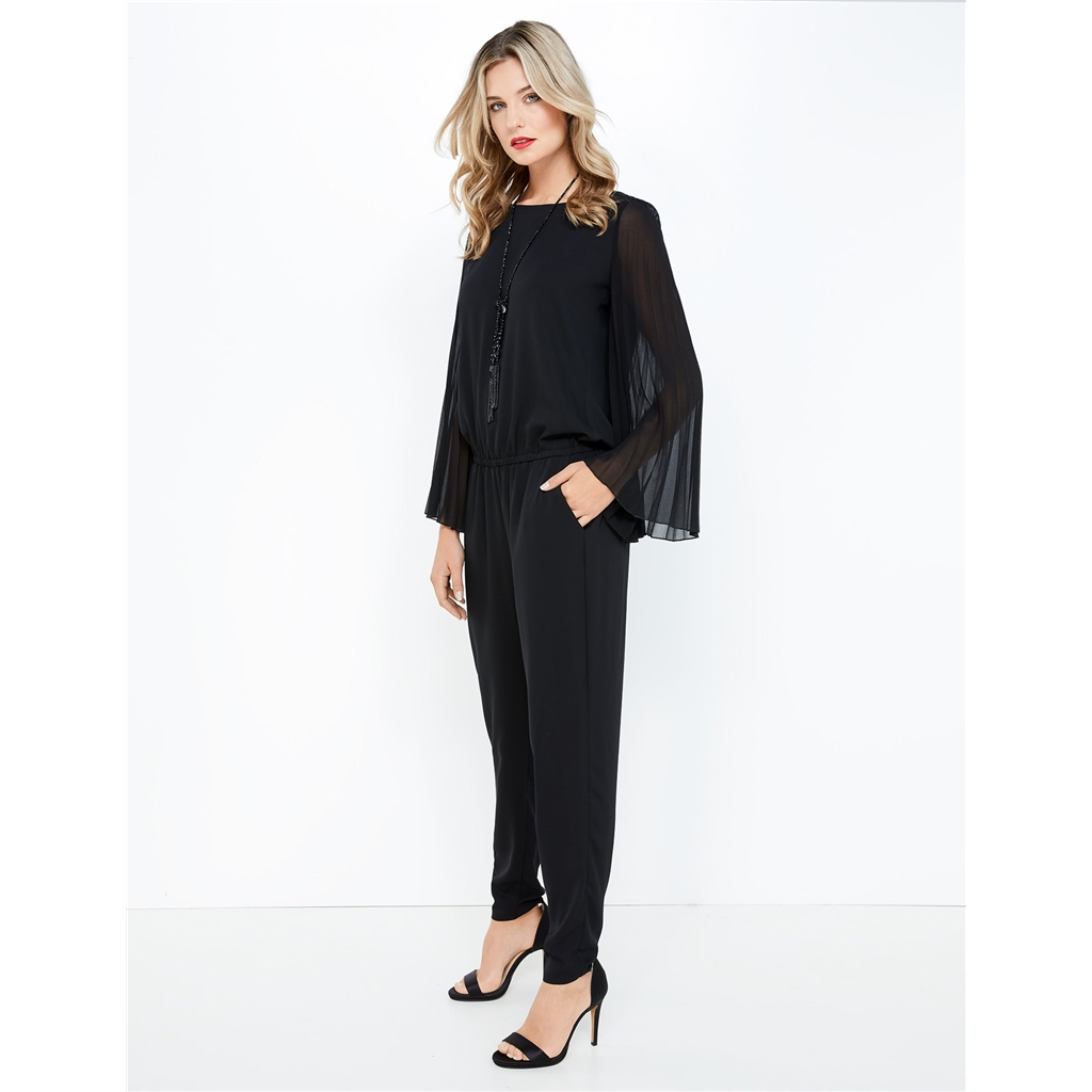 Taifun Jumpsuit with pleated sleeves- Black