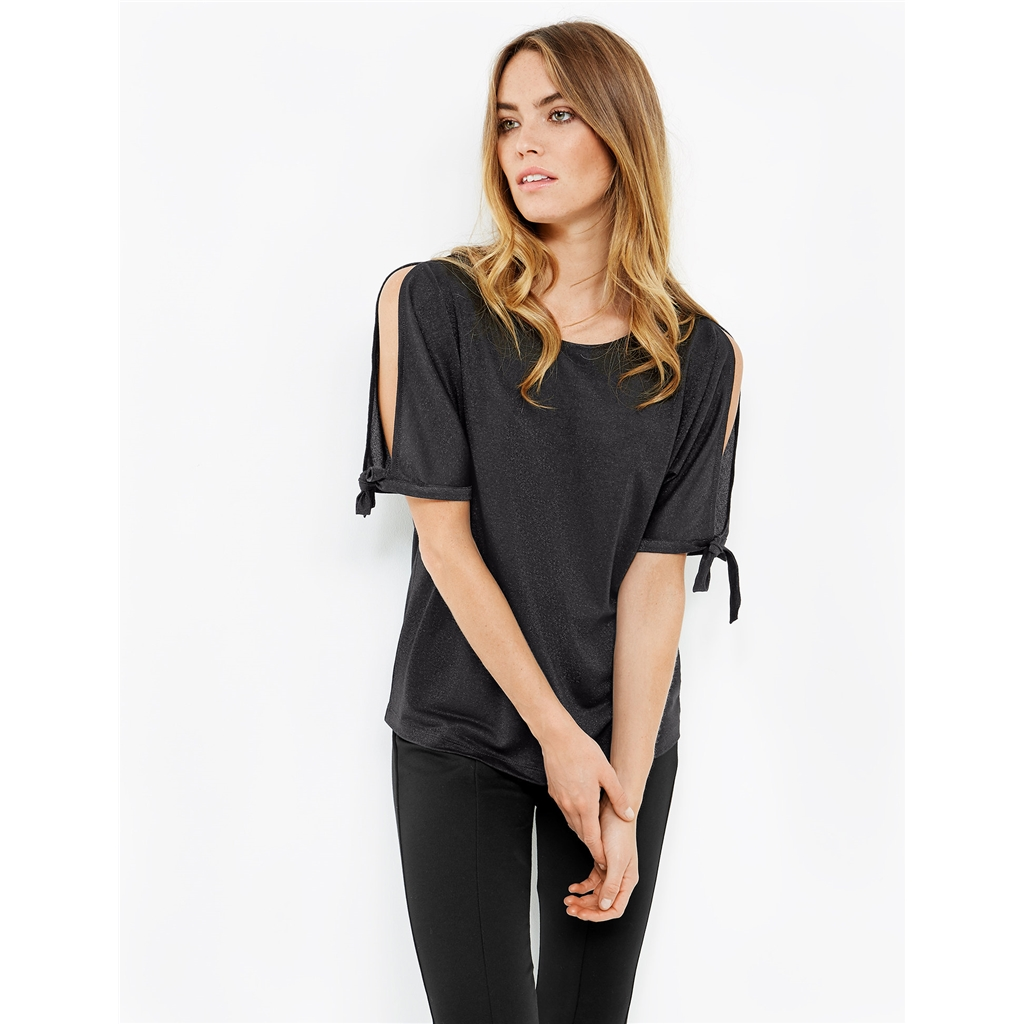 Taifun Top with Lurex and Cut-Outs - Black