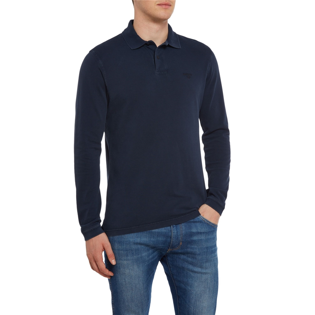Barbour Long Sleeve Washed Polo- Navy