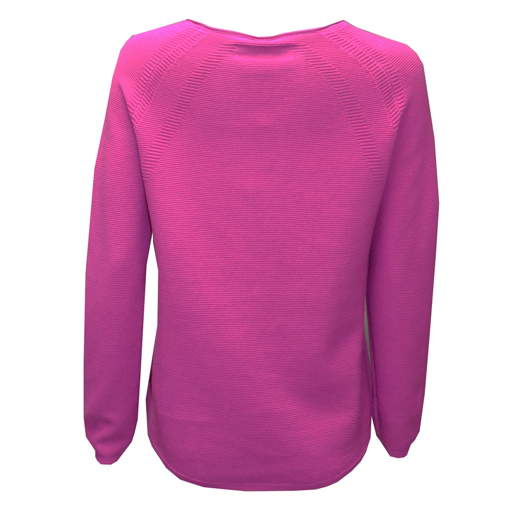 Ribbed Knit Jumper - Bright Pink