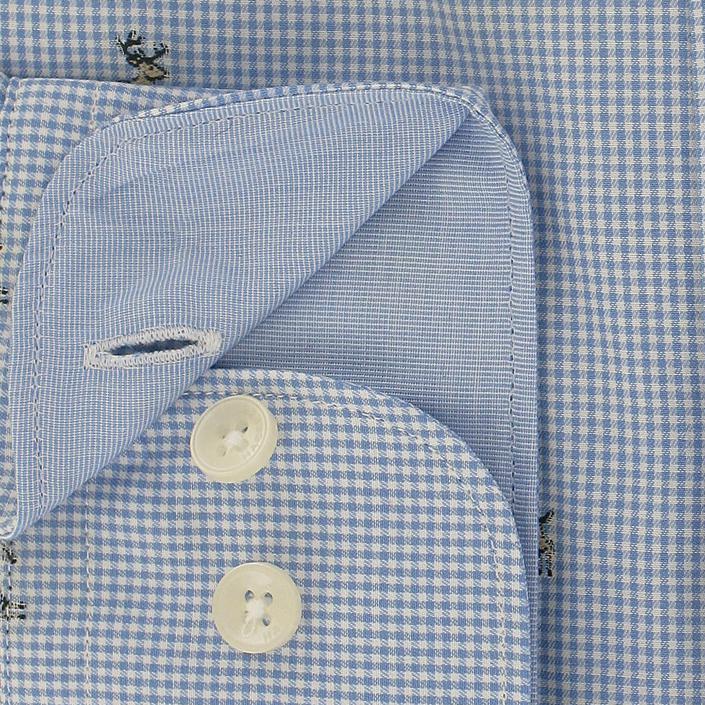 Hackett Stag Shirt Blue Gingham