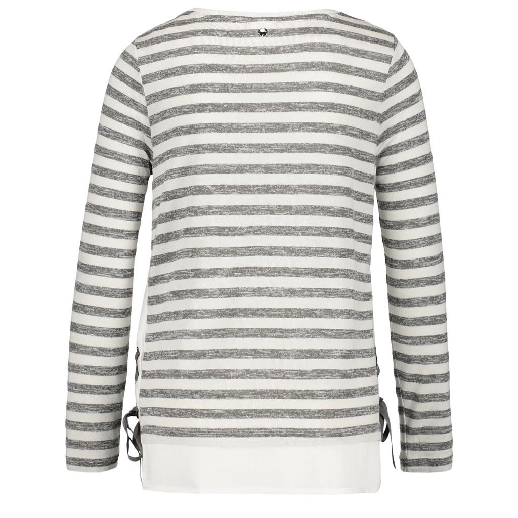 New 2018 Taifun Striped Long Sleeve top with Lacing - Iron Grey
