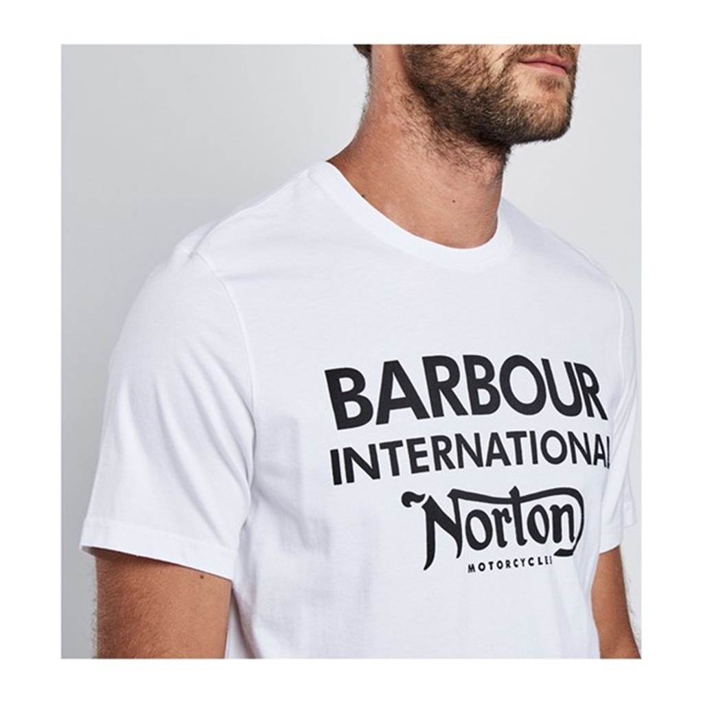 New 2018 Barbour Men's International Norton Logo Tee - White