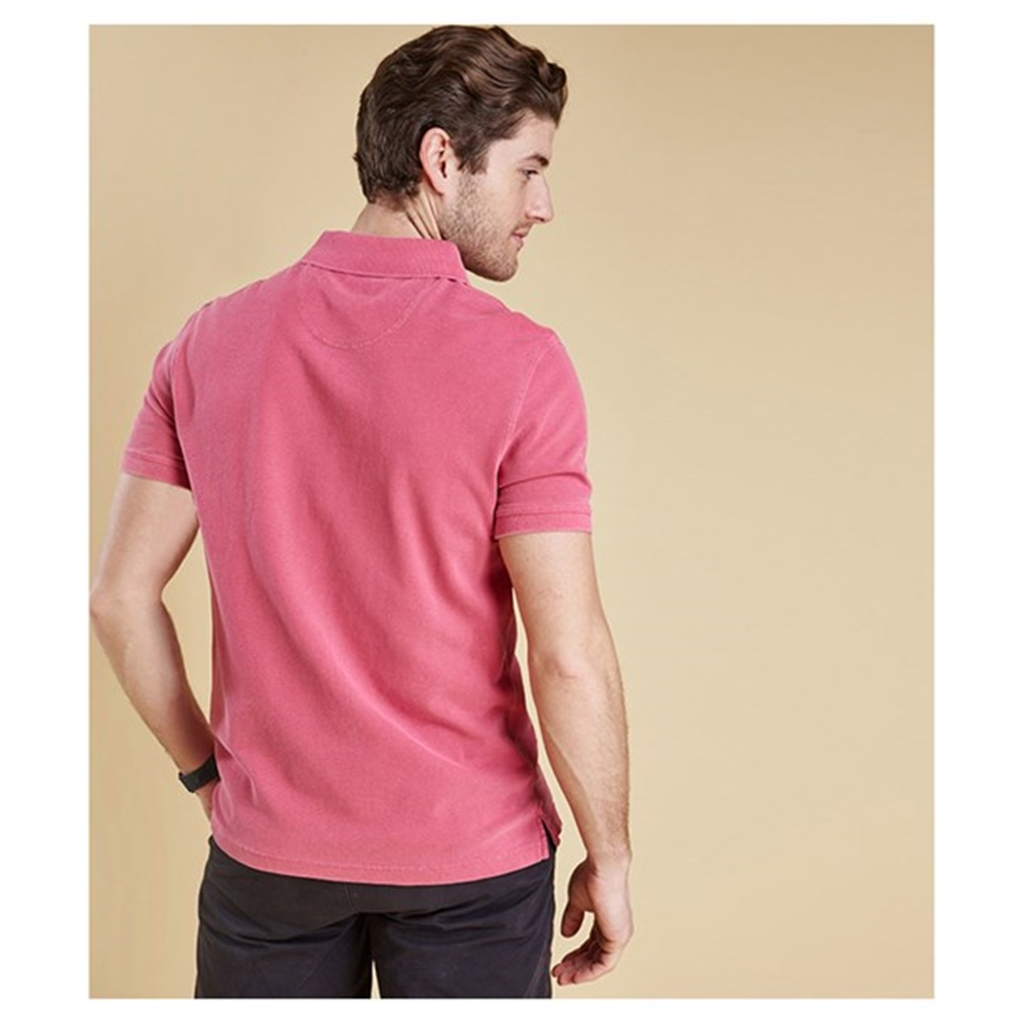 New 2018 Barbour Men's Washed Sports Polo - Fuchsia