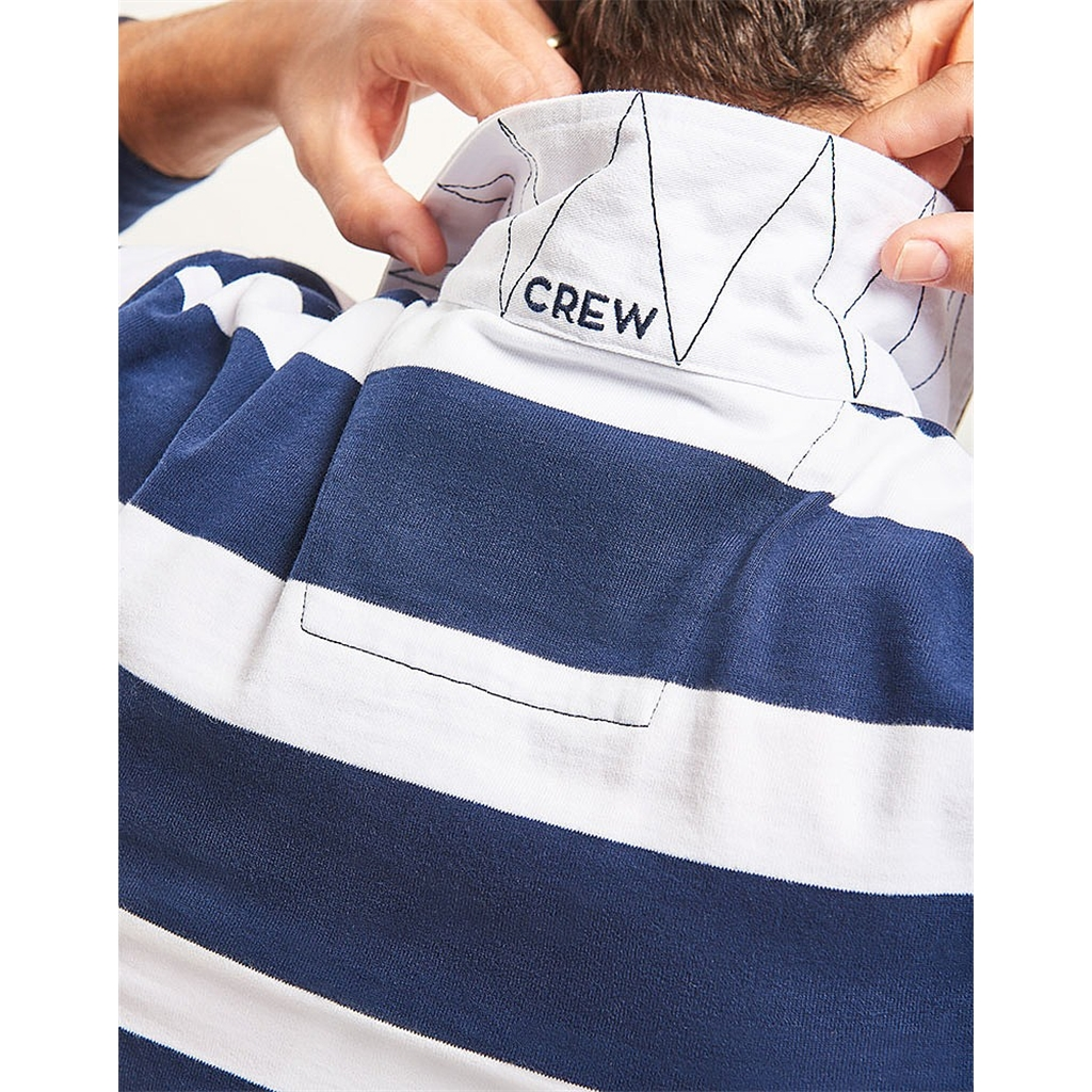New 2018 Crew Men's Long Sleeve Rugby Top - White/Navy