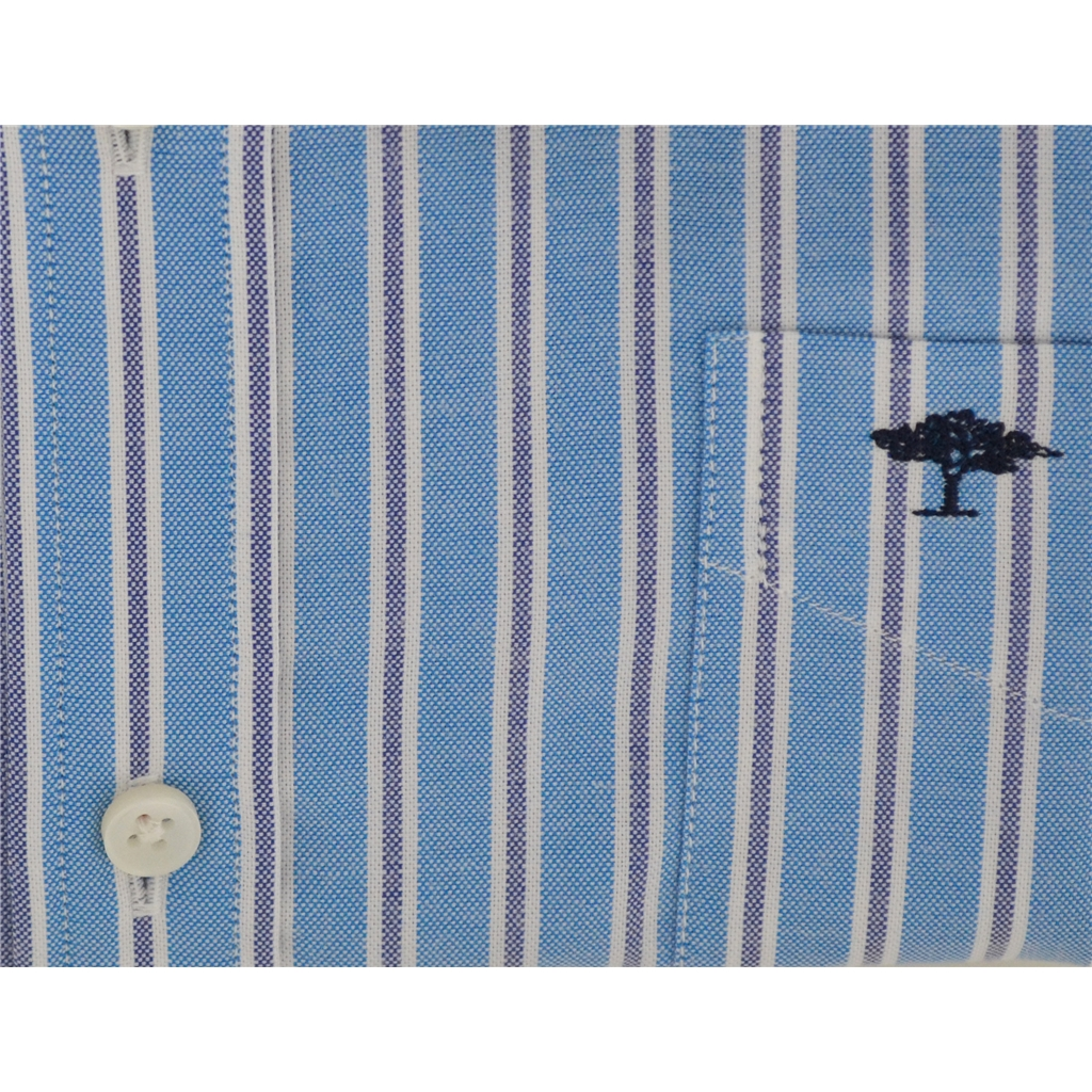 New 2018 Fynch Hatton Shirt - Aqua/Navy Stripe