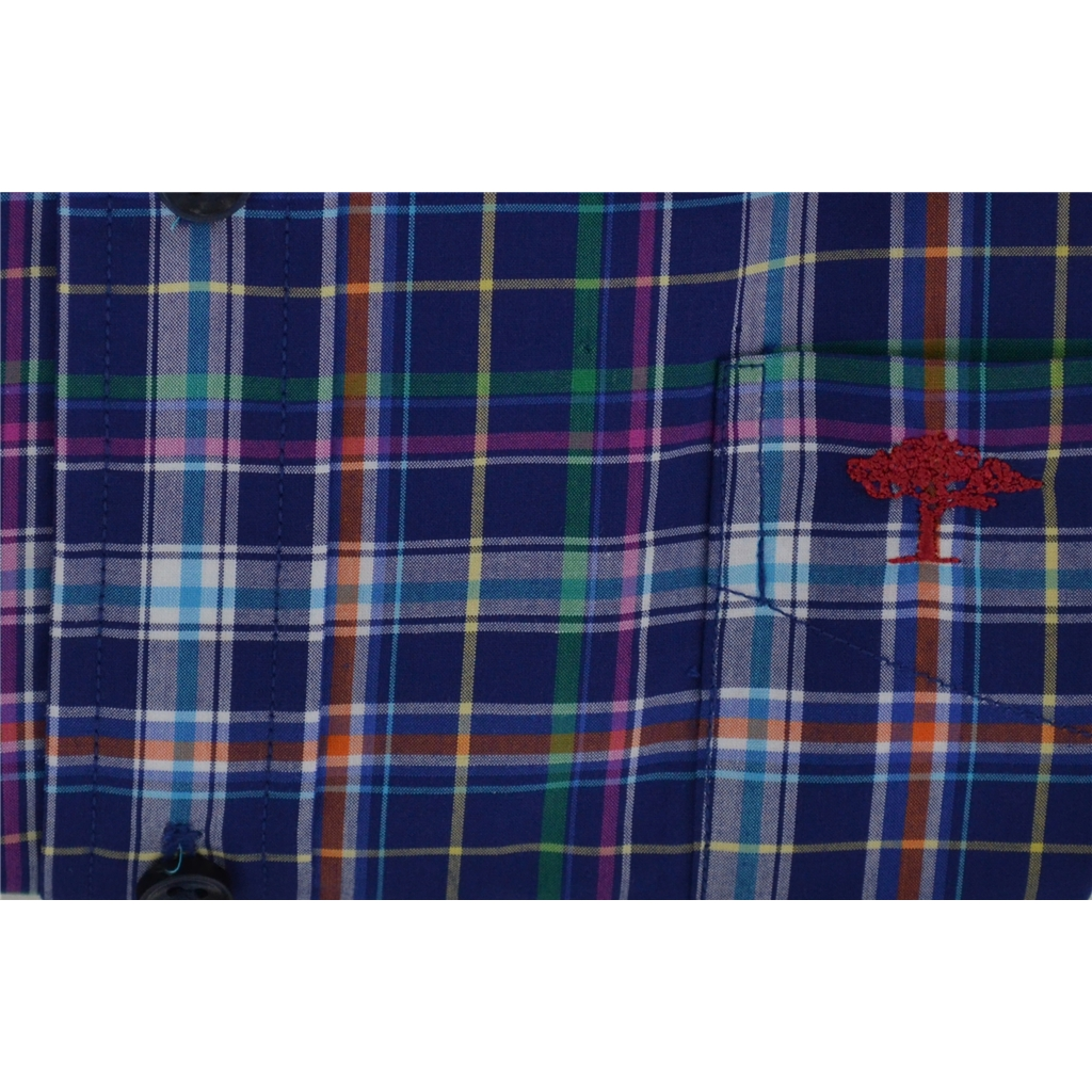 New 2018 Fynch Hatton Shirt - Navy Fond Check