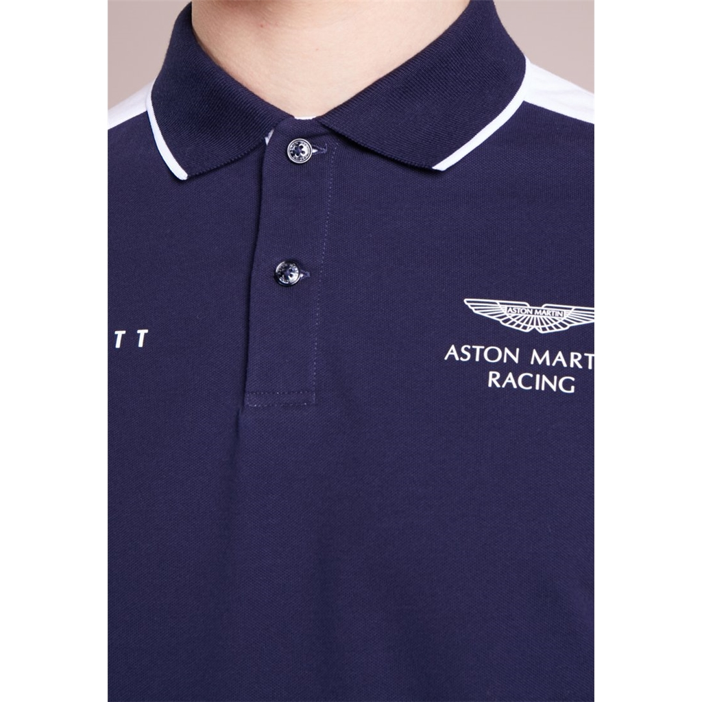 New 2018 Hackett Aston Martin Racing Fine Tape Polo Shirt - Navy