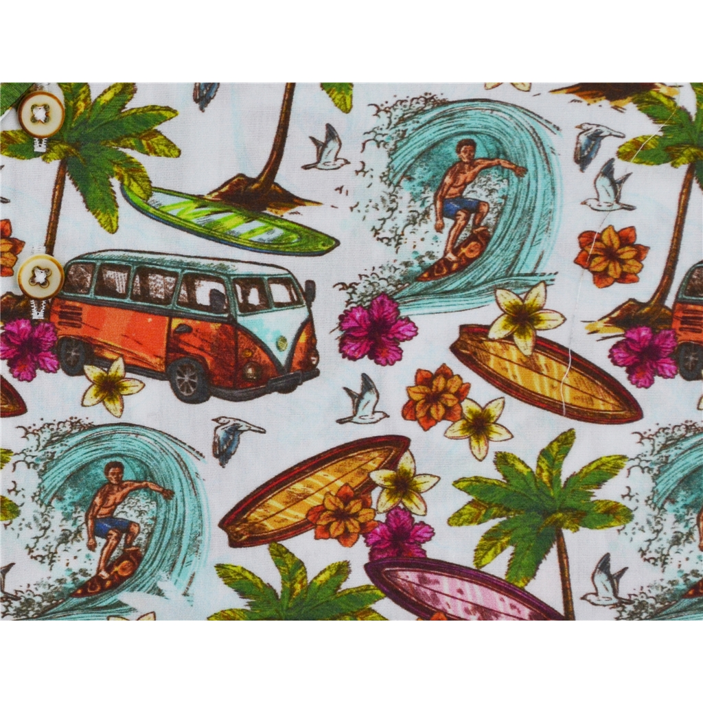 New 2018 Giordano Hawaiian Shirt - Campervan Surfer