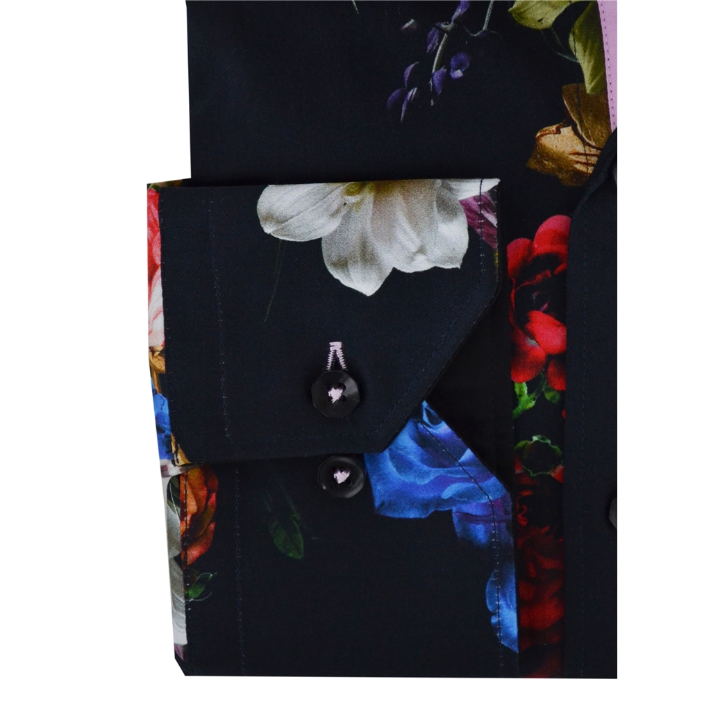 New 2018 Claudio Lugli Multi Roses Shirt - Black