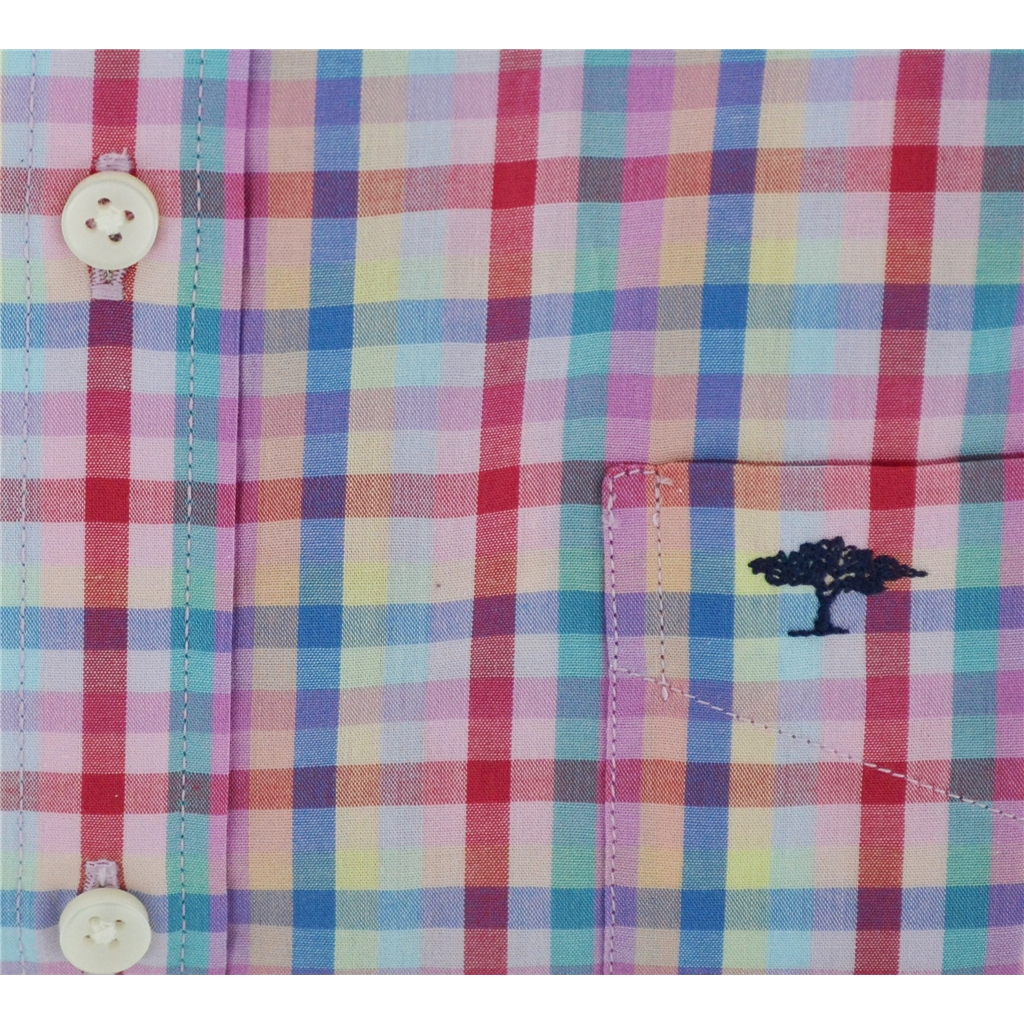 New 2018 Fynch Hatton Half Sleeve Shirt - Multi Check